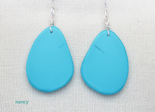 Sky Blue Turquoise Slab Earrings Kewa Ronald Chavez - 3956pl
