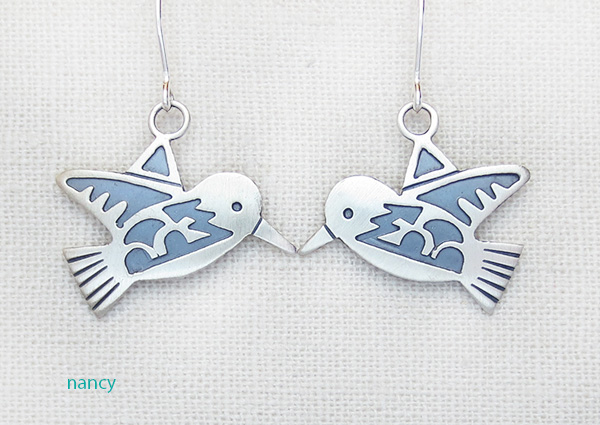 Image 0 of    Sterling Silver Overlay Bird Earrings Navajo Made - 3957sn