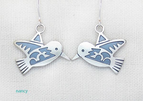 Sterling Silver Overlay Bird Earrings Navajo Made - 3957sn