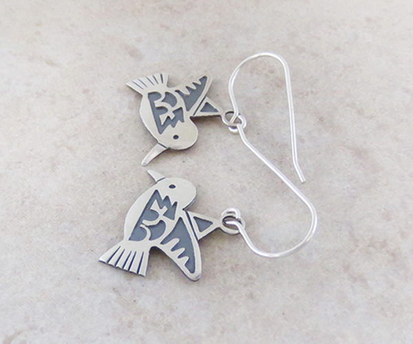 Image 1 of    Sterling Silver Overlay Bird Earrings Navajo Made - 3957sn
