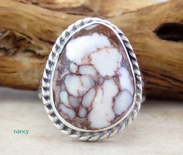 Navajo Made Small Wild Horse Stone & Sterling Silver Ring size 6.5 - 4326sn