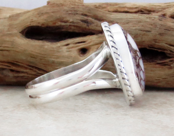 Image 1 of      Navajo Made Small Wild Horse Stone & Sterling Silver Ring size 6.5 - 4326sn