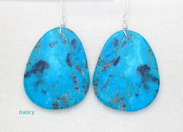 Large Turquoise Slab Earrings Kewa Ronald Chavez - 4321pl