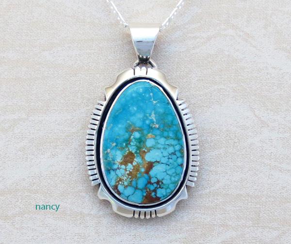 Kingman Turquoise & Sterling Silver Pendant Navajo Joe Piaso Jr - 1725sn