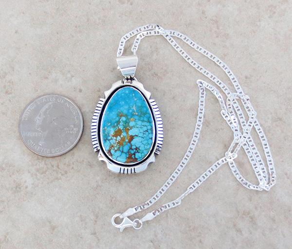 Image 1 of   Kingman Turquoise & Sterling Silver Pendant Navajo Joe Piaso Jr - 1725sn