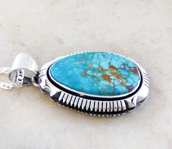 Image 2 of   Kingman Turquoise & Sterling Silver Pendant Navajo Joe Piaso Jr - 1725sn