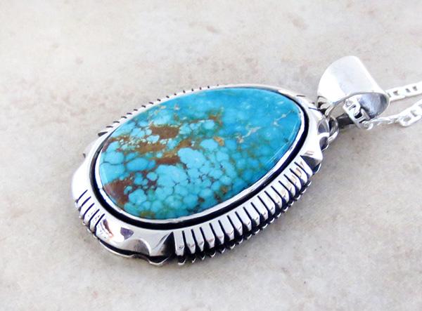 Image 3 of   Kingman Turquoise & Sterling Silver Pendant Navajo Joe Piaso Jr - 1725sn