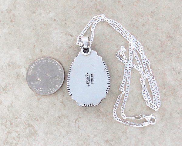 Image 4 of   Kingman Turquoise & Sterling Silver Pendant Navajo Joe Piaso Jr - 1725sn
