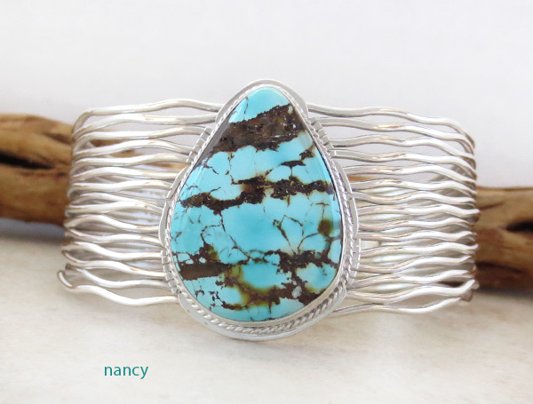 Large Turquoise & Sterling Silver Bracelet Murphy Platero -4328sn