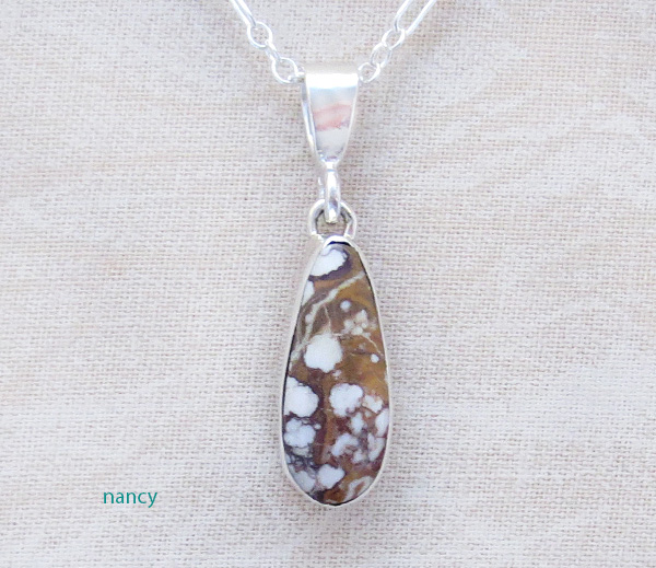 Image 0 of  Native American Small Wild Horse Stone & Sterling Silver Pendant - 3960sn