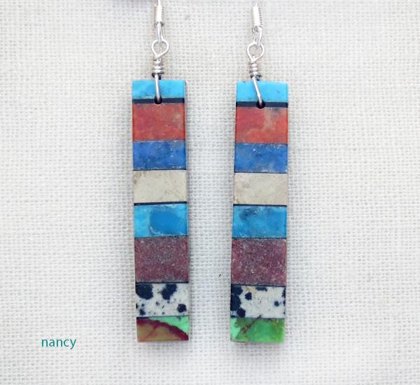 Image 0 of  Turquoise Inlay Earrings Native American Mary Tafoya - 3964mlt