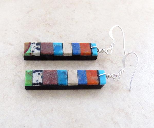 Image 1 of  Turquoise Inlay Earrings Native American Mary Tafoya - 3964mlt