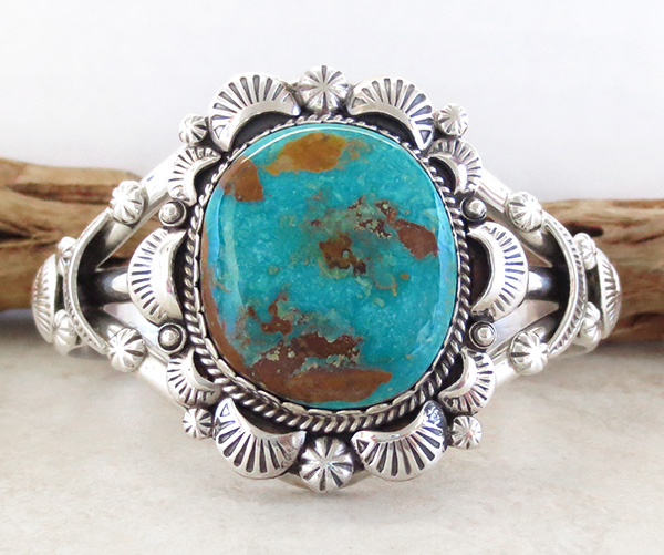 Native American Jewelry Turquoise & Sterling Silver Bracelet - 4327dt