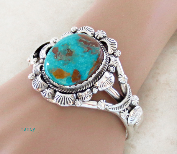 Image 1 of    Native American Jewelry Turquoise & Sterling Silver Bracelet - 4327dt