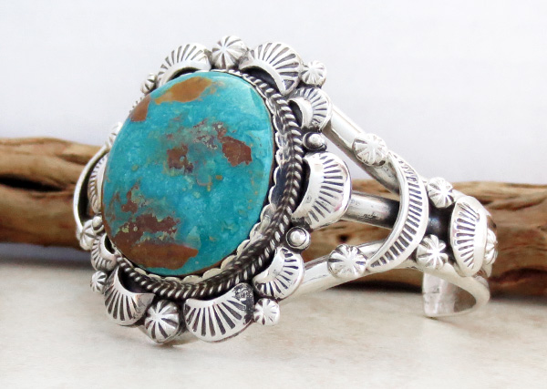 Image 3 of    Native American Jewelry Turquoise & Sterling Silver Bracelet - 4327dt
