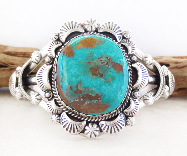Image 0 of    Native American Jewelry Turquoise & Sterling Silver Bracelet - 4327dt