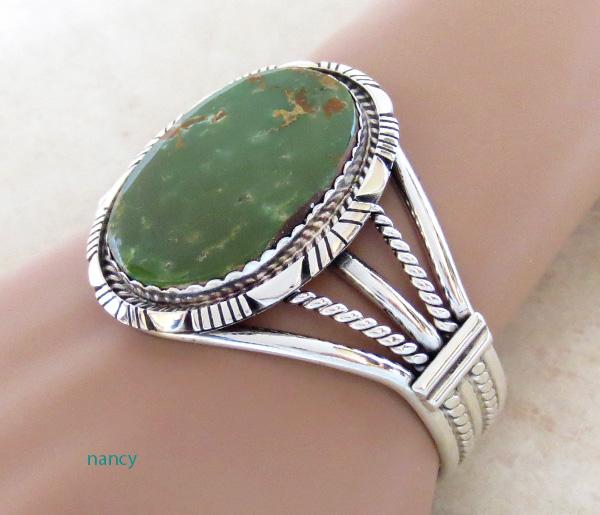 Image 0 of   Big Green Turquoise & Sterling Silver Bracelet Alfred Martinez - 1746dt