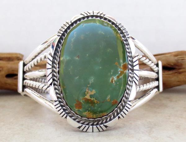 Image 1 of   Big Green Turquoise & Sterling Silver Bracelet Alfred Martinez - 1746dt