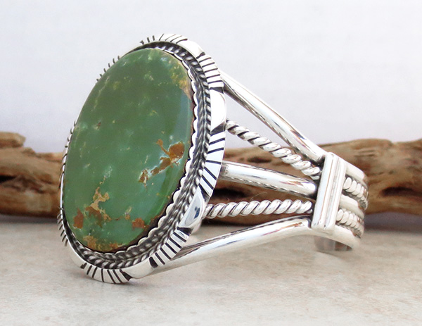Image 3 of   Big Green Turquoise & Sterling Silver Bracelet Alfred Martinez - 1746dt