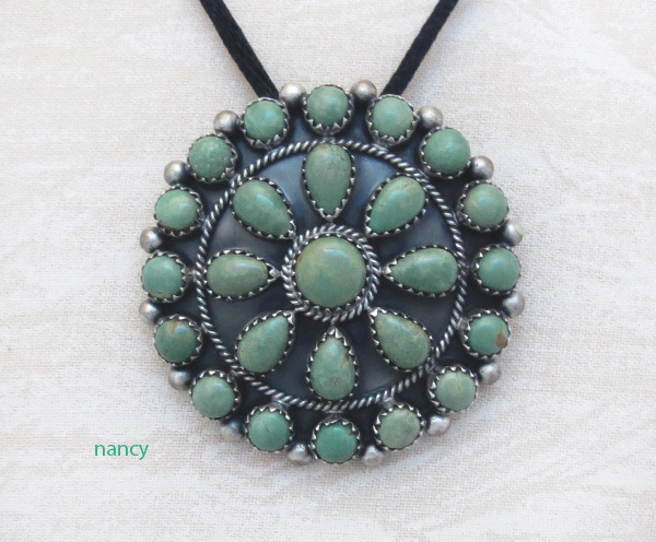 Native American Turquoise Cluster & Sterling Silver Pendant - 4216rb