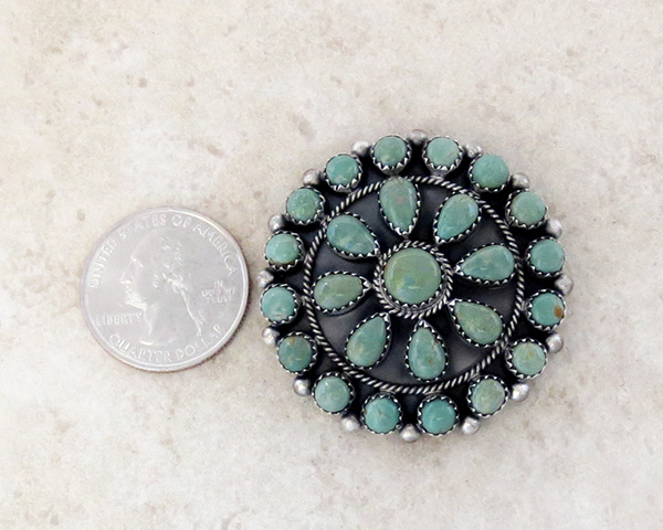 Image 1 of    Native American Turquoise Cluster & Sterling Silver Pendant - 4216rb