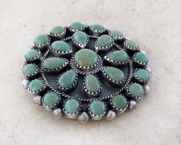Image 2 of    Native American Turquoise Cluster & Sterling Silver Pendant - 4216rb