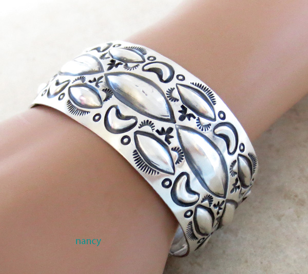 Large Stamped Sterling Silver Repousse Bracelet Native American Made - 4329rb