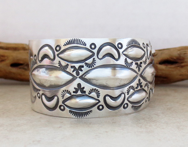 Image 2 of    Large Stamped Sterling Silver Repousse Bracelet Native American Made - 4329rb