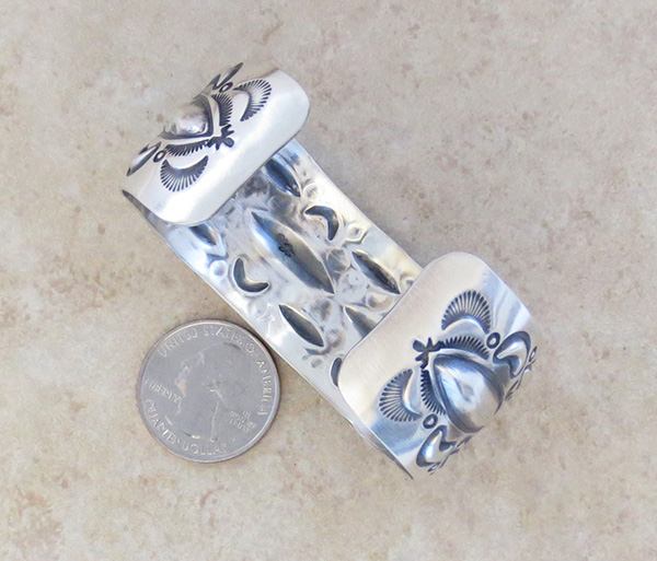 Image 3 of    Large Stamped Sterling Silver Repousse Bracelet Native American Made - 4329rb
