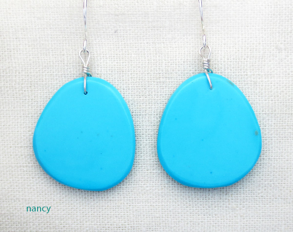 Image 0 of      Native American Made Turquoise Slab Earrings - 4335pl