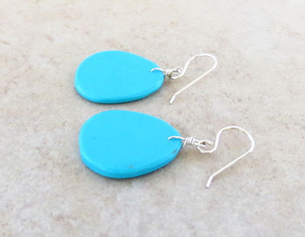Image 1 of      Native American Made Turquoise Slab Earrings - 4335pl