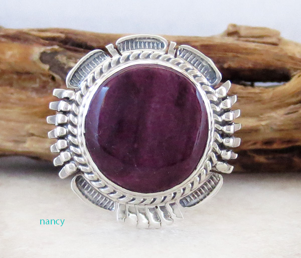 Image 0 of    Native American Purple Spiny Oyster & Sterling Silver Ring Size 8.75 - 1856sn
