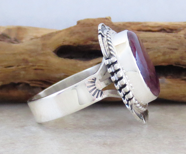 Image 1 of    Native American Purple Spiny Oyster & Sterling Silver Ring Size 8.75 - 1856sn
