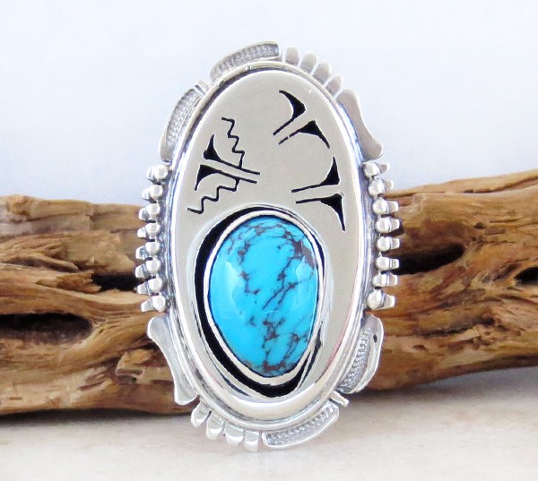 Large Native American Made Turquoise & Sterling Silver Ring size 6 - 3967sn