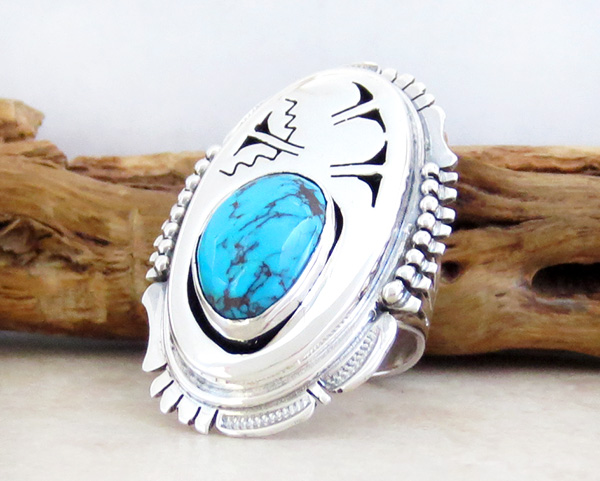 Image 2 of   Large Native American Made Turquoise & Sterling Silver Ring size 6 - 3967sn