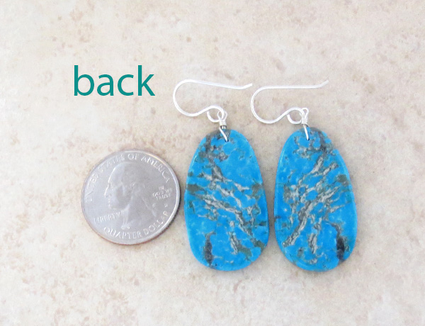 Image 2 of Turquoise Slab Earrings Native American Jewelry Ronald Chavez - 1865pl