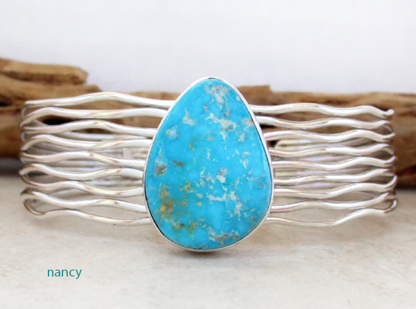 Turquoise & Sterling Silver Bracelet Native American Made - 4223sn