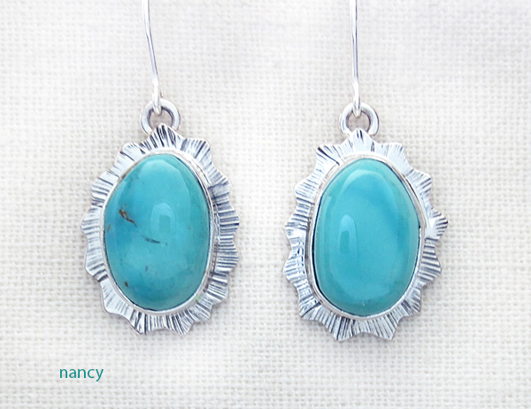 Native American Navajo Made Turquoise & Silver Earrings - 3589sn