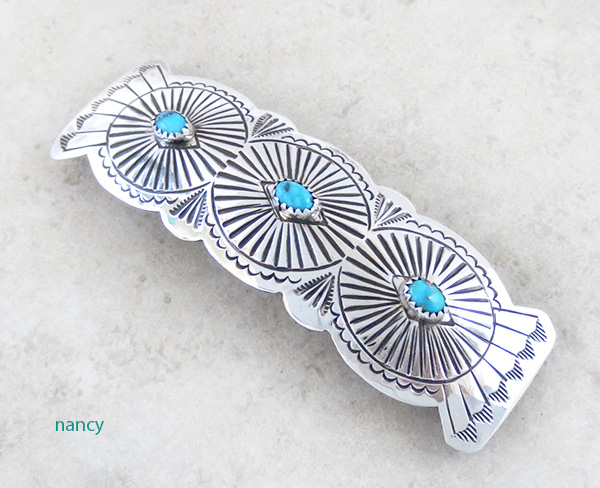 Native American Sterling Silver & Turquoise Barrette - 4341rb
