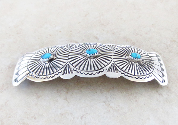 Image 1 of      Native American Sterling Silver & Turquoise Barrette - 4341rb