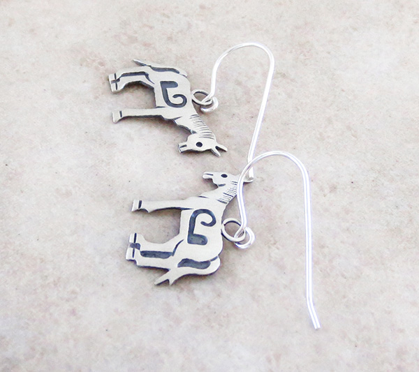 Image 1 of   Sterling Silver Horse Earrings Native American Jewelry - 4336sn
