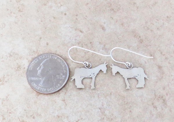 Image 2 of   Sterling Silver Horse Earrings Native American Jewelry - 4336sn
