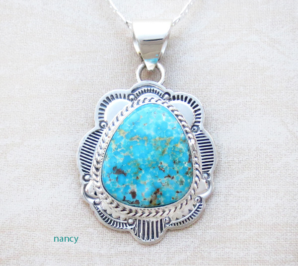 Turquoise & Sterling Silver Pendant Native American Made - 4125sn
