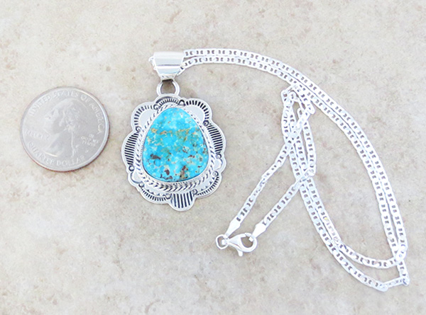 Image 1 of     Turquoise & Sterling Silver Pendant Native American Made - 4125sn