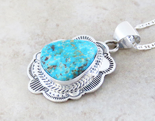 Image 3 of     Turquoise & Sterling Silver Pendant Native American Made - 4125sn