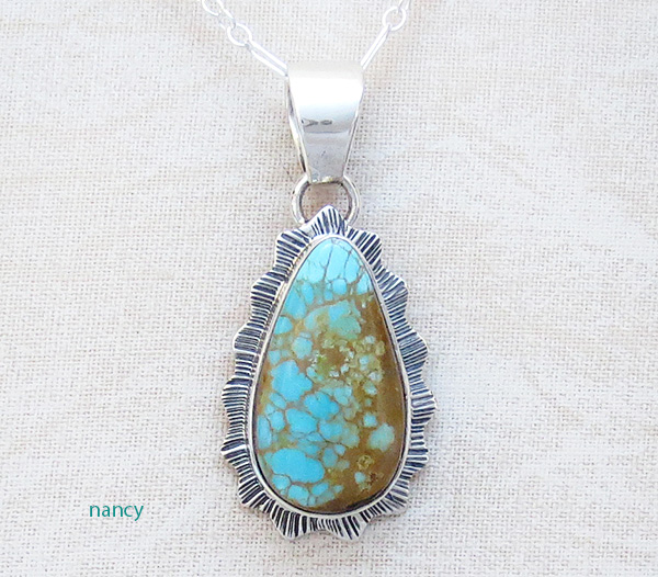 Native American Turquoise & Sterling Silver Pendant With Chain - 4339sn