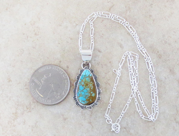 Image 1 of    Native American Turquoise & Sterling Silver Pendant With Chain - 4339sn