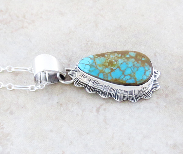 Image 2 of        Native American Turquoise & Sterling Silver Pendant With Chain - 4339sn