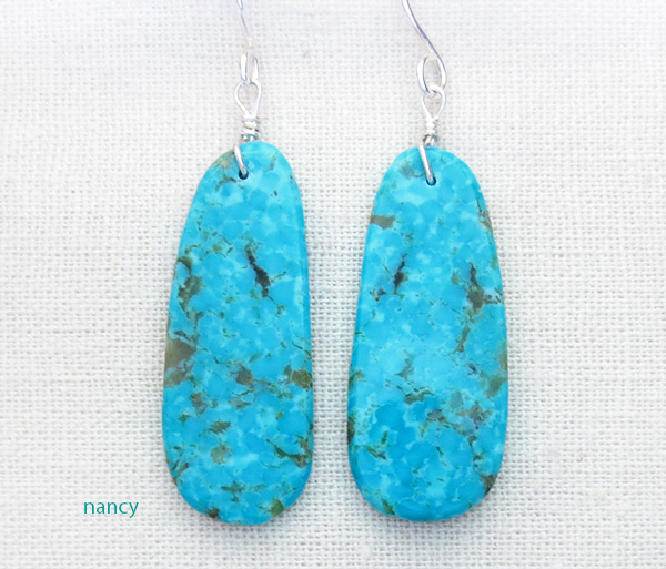 Native American Turquoise Slab Earrings - 3971pl