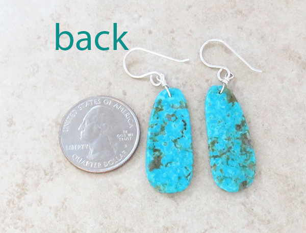 Image 2 of       Native American Turquoise Slab Earrings - 3971pl